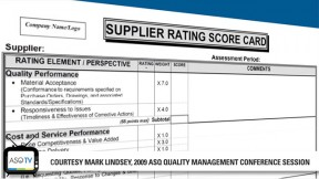 Quality Tool-Supplier Scorecards